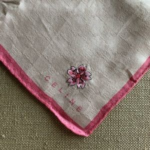 Celine square cotton scarf, pink cherry blossom